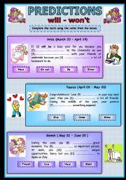 English Worksheet: PREDICTIONS  (THREE PAGES)