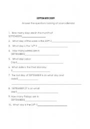 English Worksheets: September Questions