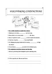 English Worksheets: Discovering Conjunctions