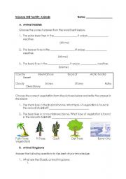 English Worksheets: Animals Worksheet - Habitats, Kingdoms and Life Cycles