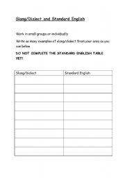 English worksheets: Slang - Standard English conversion table