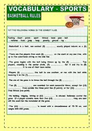 English Worksheet: Sports Vocabulary: Basketball