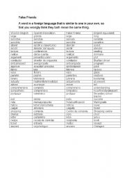 English Worksheet: false friends for spanish learners