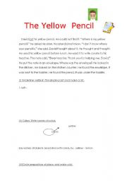 English Worksheets: The Yellow Pencil