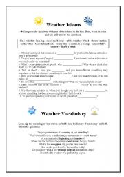 English Worksheet: Weather Idioms and Vocabulary