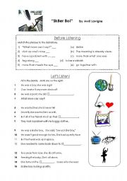 English Worksheet: Lyrics Worksheet:  Sk8er Boi by Avril Lavigne
