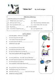 English Worksheets: Lyrics Worksheet:  Sk8er Boi by Avril Lavigne