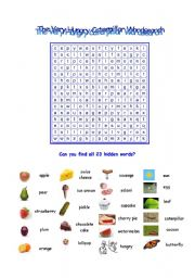English Worksheet: The Very Hungry Caterpillar Wordsearch