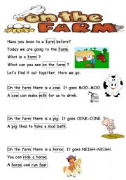 English Worksheet: Animals On the farm (Reading passages and worksheets)
