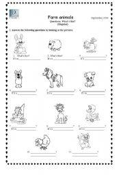 English Worksheets: Farm animals/Singular question: What�s this?