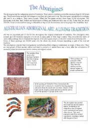 English Worksheets: Australian Aboriginal Art - Reading comprehension