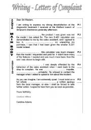 Worksheet writing a letter of complaint english worksheet writing a letter of complaint spiritdancerdesigns Images