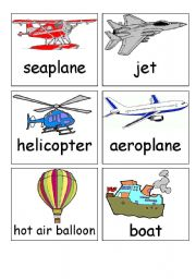 English Worksheet: transport flash cards