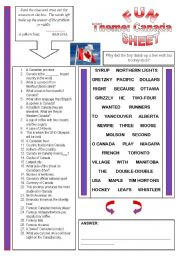 English Worksheet: Fun Sheet Theme: Canada