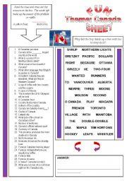 English Worksheet: Fun Sheet Theme: Canada