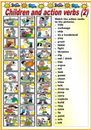 English Worksheet: CHILDREN AND ACTION VERBS - MATCHING 2-2 (B&W VERSION INCLUDED)