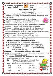 English Worksheets: revision sheets on unit 6macmillan 3