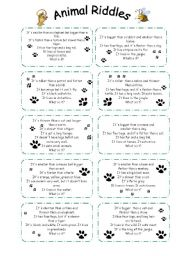 photograph about Printable Riddles for Kids titled animal riddles - ESL worksheet via sophia13