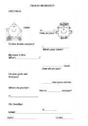 English Worksheets: Greetings/Personal ID