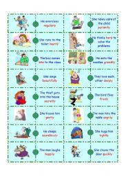 English Worksheets: Adverb Domino-1