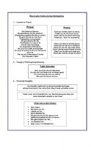 English Worksheets: ways to give thanks during thanksgivens