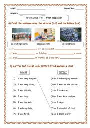 Cause and effect worksheets first grade document
