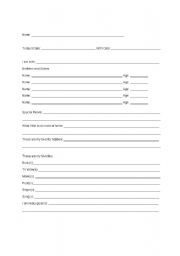 English Worksheets: student Interest Inventory