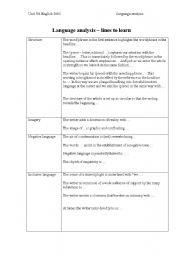 English Worksheets: language analysis