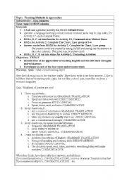 English Worksheets: Teaching Methods, a Teacher Training Seminar