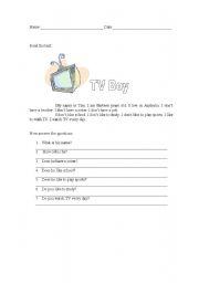 English Worksheets: TV Boy