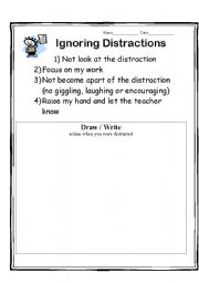 English Worksheets: Ignoring Distractions Worksheet
