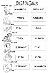English Worksheets: ANIMALS (for the little ones)