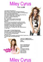 English Worksheet: Miley Cyrus - The climb