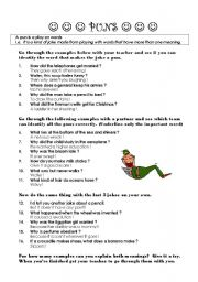 English Worksheet: Puns - Introduction (guided activity)