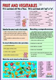 English Worksheet: Fruit and vegetables