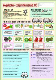English Worksheet: Vegetables - conjunction (And,Or)