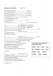 English Worksheets: Beacuse you loved me - Celine Dion
