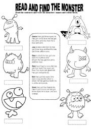 English Worksheet: Read ,find and colour the monsters