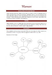 English Worksheet: Warmers to start your class in a funnier way (2 pages)