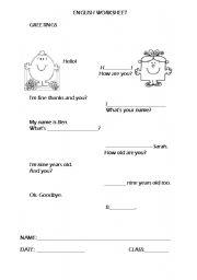 English worksheet: Greetings/Personal ID