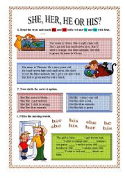English worksheet: SHE,HER,HE or HIS