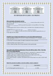 English Worksheet: BUSINESS ENGLISH BANKING