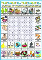 English Worksheet: THE PLURAL OF NOUNS - WORDSEARCH (B&W VERSION INCLUDED)