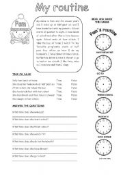 English Worksheet: MY ROUTINE (1)