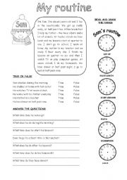 English Worksheet: My routine (2)