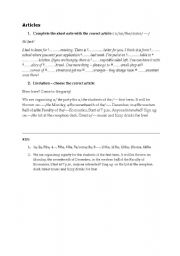 English Worksheets: Articles - practice - matura podstawowa - writing - practice