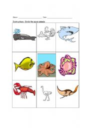 English Worksheets: The ocean animals
