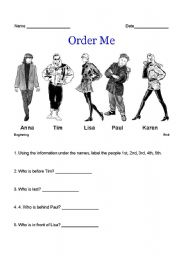 English Worksheets: Order