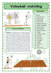 English Worksheet: Volleyball - matching exercise