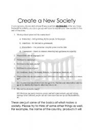 English Worksheets: Create a New Society